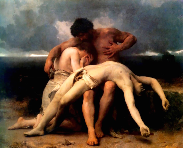 Adam and Eve mourn the death of Abel); oil on canvas 1888 painting by William-Adolphe Bouguereau
